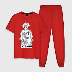 Пижама хлопковая мужская Kizaru цвета красный — фото 1