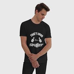 Пижама хлопковая мужская That's Who Loves Skillet цвета черный — фото 2