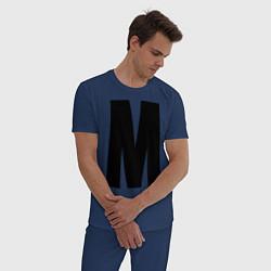 Пижама хлопковая мужская Мы(М) цвета тёмно-синий — фото 2