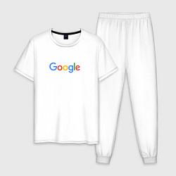 Пижама хлопковая мужская Google цвета белый — фото 1