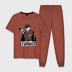 Пижама хлопковая мужская Fallout Man with gun цвета кирпичный — фото 1