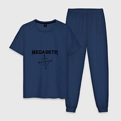 Пижама хлопковая мужская Megadeth Compass цвета тёмно-синий — фото 1