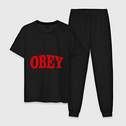 Пижама хлопковая мужская OBEY цвета черный — фото 1