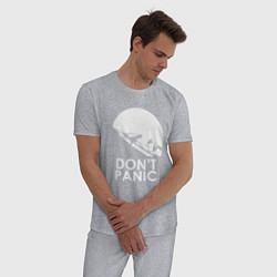 Пижама хлопковая мужская Elon: Don't Panic цвета меланж — фото 2