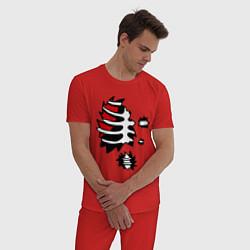 Пижама хлопковая мужская Зомби-скелет цвета красный — фото 2