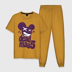 Пижама хлопковая мужская DeadMau5 цвета горчичный — фото 1