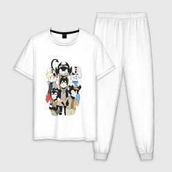 Пижама хлопковая мужская Bendy Heroes цвета белый — фото 1