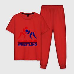 Пижама хлопковая мужская Greco-roman wrestling цвета красный — фото 1