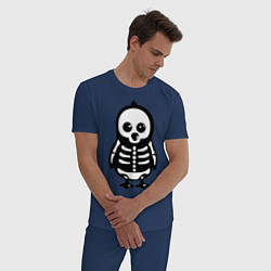 Пижама хлопковая мужская Рентген пингвина цвета тёмно-синий — фото 2