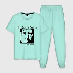 Пижама хлопковая мужская Give Peace a Chance цвета мятный — фото 1