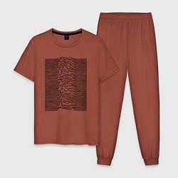 Пижама хлопковая мужская Unknown Pleasures цвета кирпичный — фото 1