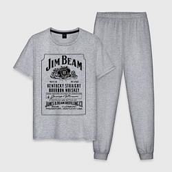 Пижама хлопковая мужская Jim Beam whiskey цвета меланж — фото 1