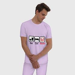 Пижама хлопковая мужская Главное в жизни - еда, сон, honda цвета лаванда — фото 2