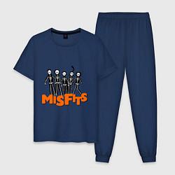 Пижама хлопковая мужская Misfits Skeletons цвета тёмно-синий — фото 1