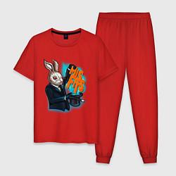 Пижама хлопковая мужская Rabbit magician цвета красный — фото 1
