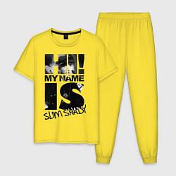 Пижама хлопковая мужская My name is slim shady цвета желтый — фото 1