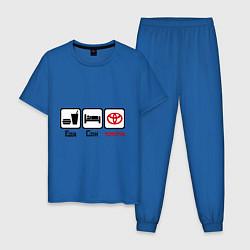 Пижама хлопковая мужская Еда, сон и Toyota цвета синий — фото 1