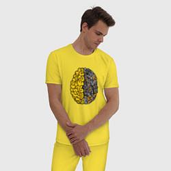 Пижама хлопковая мужская Мозг инженера цвета желтый — фото 2