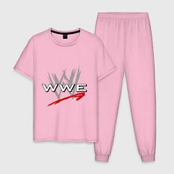 Пижама хлопковая мужская WWE Fight цвета светло-розовый — фото 1