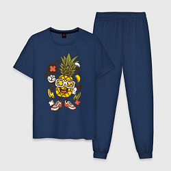Пижама хлопковая мужская Летний ананас цвета тёмно-синий — фото 1