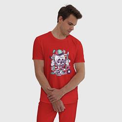 Пижама хлопковая мужская Уличный художник цвета красный — фото 2