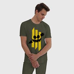 Пижама хлопковая мужская Skrillex: The fun цвета меланж-хаки — фото 2