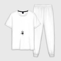 Пижама хлопковая мужская Death Stranding: Hand цвета белый — фото 1