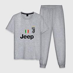 Пижама хлопковая мужская Ronaldo: Juve Sport цвета меланж — фото 1