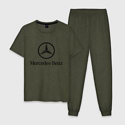 Пижама хлопковая мужская Logo Mercedes-Benz цвета меланж-хаки — фото 1