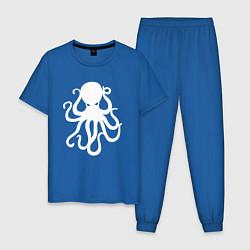 Пижама хлопковая мужская Кракен-осьминог цвета синий — фото 1