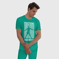 Пижама хлопковая мужская Cris7iano Juventus цвета зеленый — фото 2
