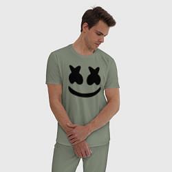 Пижама хлопковая мужская Marshmello цвета авокадо — фото 2