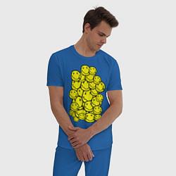 Пижама хлопковая мужская Nirvana Smiles цвета синий — фото 2