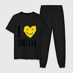 Пижама хлопковая мужская I love Nirvana цвета черный — фото 1