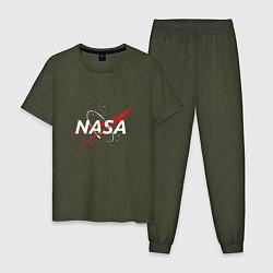 Пижама хлопковая мужская NASA: Space Arrow цвета меланж-хаки — фото 1