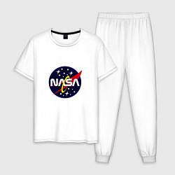 Пижама хлопковая мужская NASA: Space Style цвета белый — фото 1