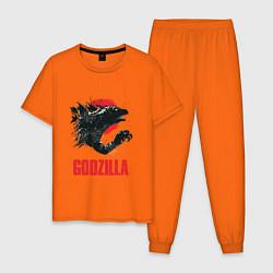 Пижама хлопковая мужская Godzilla: Red Sun цвета оранжевый — фото 1