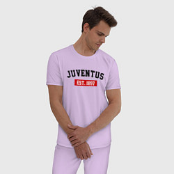 Пижама хлопковая мужская FC Juventus Est. 1897 цвета лаванда — фото 2