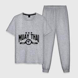 Пижама хлопковая мужская Muay thai boxing цвета меланж — фото 1