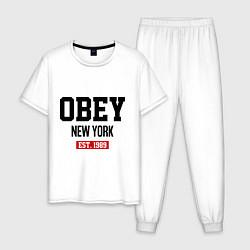 Пижама хлопковая мужская Obey Est. 1989 цвета белый — фото 1