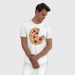 Пижама хлопковая мужская Пицца парная цвета белый — фото 2
