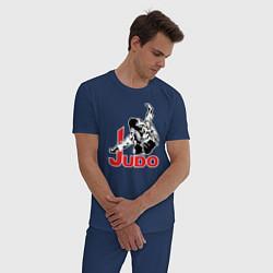 Пижама хлопковая мужская Judo Master цвета тёмно-синий — фото 2