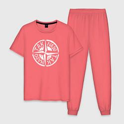 Пижама хлопковая мужская Taknado Stone Island цвета коралловый — фото 1