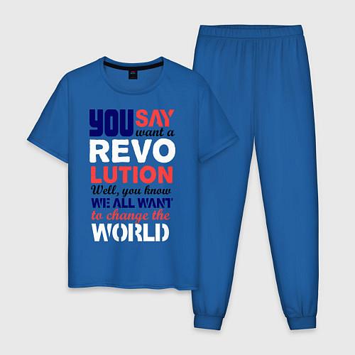 Мужская пижама The Beatles Revolution / Синий – фото 1