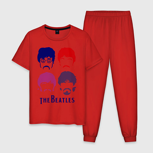 Мужская пижама The Beatles faces / Красный – фото 1
