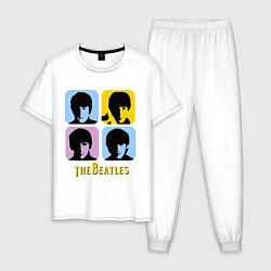 Пижама хлопковая мужская The Beatles: pop-art цвета белый — фото 1