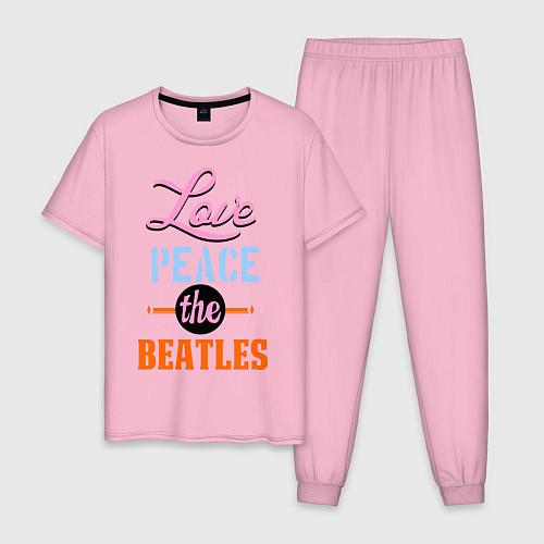 Мужская пижама Love peace the Beatles / Светло-розовый – фото 1