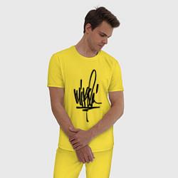 Пижама хлопковая мужская Mike Shinoda: autograph цвета желтый — фото 2