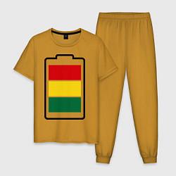 Пижама хлопковая мужская Happy Battary цвета горчичный — фото 1