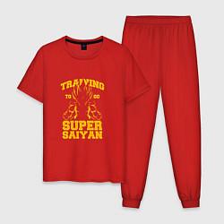 Пижама хлопковая мужская Super Saiyan Training цвета красный — фото 1